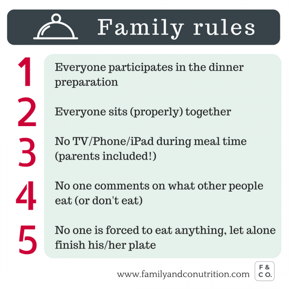 What are your 5 family rules for peaceful mealtime