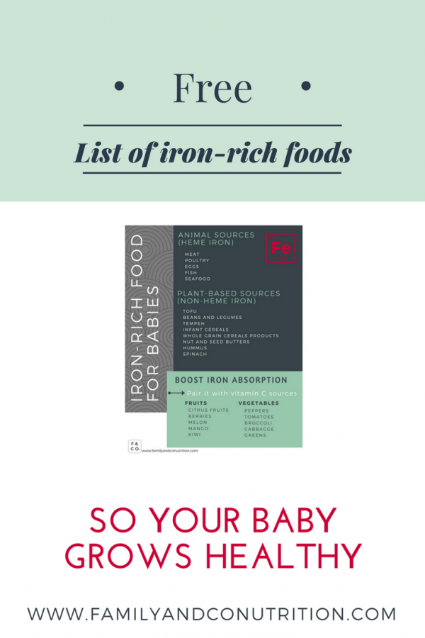 Free printable list of iron rich foods for babies