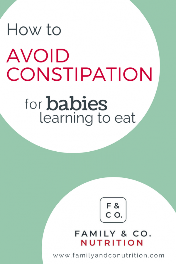 Image banner on avoiding constipation for babies learning to eat solid foods