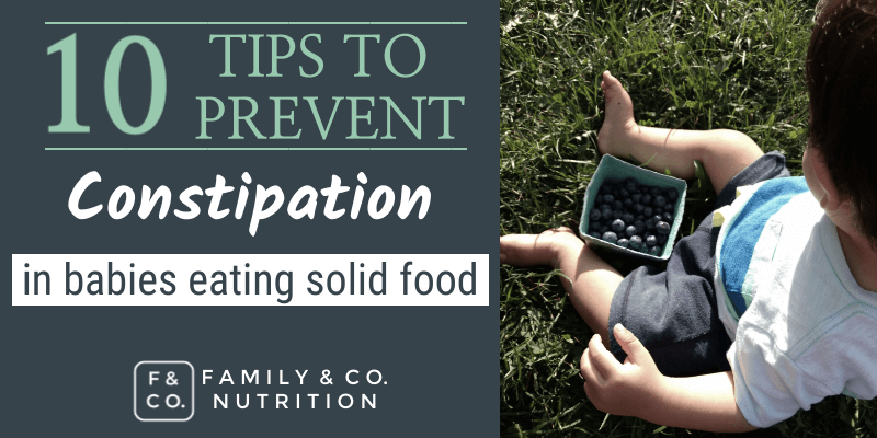 Blog post on preventing constipation in babies eating solid foods